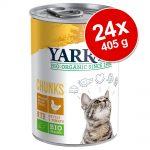 Ekonomipack: Yarrah Organic Chunks 24 x 405 g - Eko-kyckling + Eko-kyckling & eko-nötkött