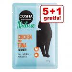 5 + 1 på köpet! 6 x 50 g Cosma Nature i portionspåse Pacific tonfisk