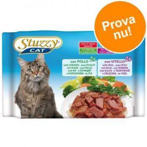 Blandpack: Stuzzy Cat i portionspåse 4 x 100 g - Mix 2 sorter: Skinka + Nötkött