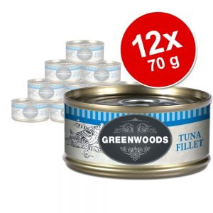 Ekonomipack: 12 x 70 g Greenwoods Adult våtfoder - Tuna