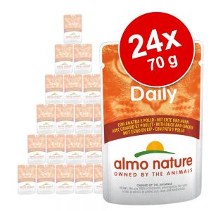 Ekonomipack: Almo Nature Daily Menu Pouch 24 x 70 g - Blandpack kyckling