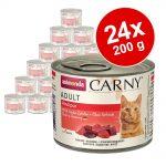 Ekonomipack: Animonda Carny Adult 24 x 200 g - Nötkött, kalkon & kanin