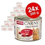 Ekonomipack: Animonda Carny Single Protein Adult 24 x 200 g - Nötkött pur