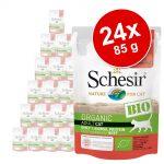 Ekonomipack: Schesir Bio Pouch 24 x 85 g - Ekologiskt griskött