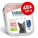 Ekonomipack: Yarrah Organic 48 x 100 g - Blandpack II: Paté - Eko-kyckling & eko-kalkon + Ekologiskt nötkött