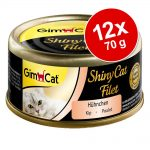 GimCat ShinyCat Filet 12 x 70 g - Kyckling & räkor