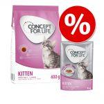 Provpack: 400 g / 3kg Concept for Life Kitten torrfoder + 12 x 85g Concept for Life Kitten våtfoder - 3 kg Kitten torrfoder + 12 x 85 g Kitten våtfoder i sås