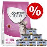 Provpack Kitten: 400 g Concept for Life + Cosma Nature - Kitten + 6 x 70 g Cosma Nature Kyckling