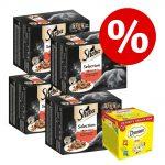 48 x 85 g Sheba portionspåsar + 12 x 60 g Dreamies kattgodis till sparpris! - Selection in Sauce
