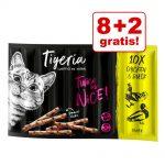 8 + 2 på köpet! 10 x 5 g Tigeria Sticks - Nötkött & lever