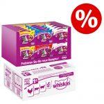 96 x 100 g Whiskas 1+ våtfoder + 24 x 60 g Temptations XXL Mixcase till sparpris! - Fågelurval i gelé