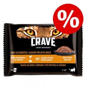 Crave Cat Paté Pouch Multipack 4 x 85 g till kanonpris! - Paté Salmon & Chicken