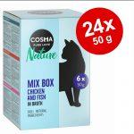 Ekonomipack: 24 x 50 g Cosma Nature i portionspåse - Kyckling & lax