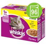Ekonomipack: 96 x 85 / 100 g Whiskas - 1+ Ragout Fiskurval i gelé 85 g