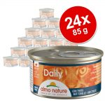 Ekonomipack: Almo Nature Daily Menu 24 x 85 g - Blandpack med kalkon, tonfisk, kyckling + nötkött