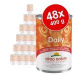 Ekonomipack: Almo Nature Daily Menu 48 x 400 g - Blandpack: kanin, nötkött, kalkon + kalv