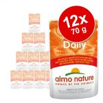 Ekonomipack: Almo Nature Daily Menu Pouch 12 x 70 g - Blandpack med lax