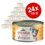 Ekonomipack: Almo Nature HFC Alternative Cat 24 x 70 g - Skinka & kalkon