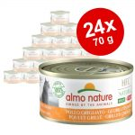 Ekonomipack: Almo Nature HFC Natural Made in Italy 24 x 70 g - Gulfenad tonfisk