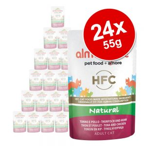 Ekonomipack: Almo Nature HFC Natural Pouch 24 x 55 g - Blandpack: Kyckling + Tonfisk i gelé (6 sorter)