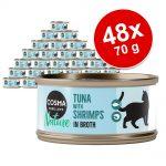 Ekonomipack: Cosma Nature 48 x 70 g - Tonfisk & räkor