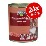Ekonomipack: Grau Gourmet spannmålsfritt 24 x 800 g - 12 x Kyckling & kalv + 12 x Kalkon & lamm