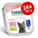 Ekonomipack: Yarrah Organic 24 x 100 g - Paté: Eko-kyckling & eko-kalkon med eko-aloe vera
