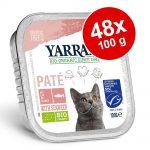 Ekonomipack: Yarrah Organic 48 x 100 g - Chunks: Eko-kyckling & eko-kalkon med eko-aloe vera