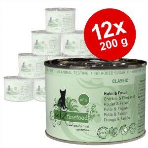 Ekonomipack: catz finefood på burk 12 x 200 g - Lax & fågel