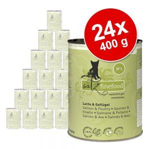 Ekonomipack: catz finefood på burk 24 x 400 g - Lax & fågel
