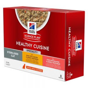 Hill's Science Plan Young Adult Sterilised Healthy Cuisine with Chicken & Salmon - 16 x 80 g