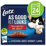 "Latz """"As good as it looks"""" Adult Pouch 24 x 85 g - Nötkött & morot, Kyckling & tomat, Lax & zucchini, Öring & gröna bönor"